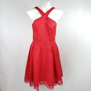 MODA INT Red Lace Holiday Mini A Line Dress I